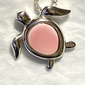 """Beautiful Natural Pink Shell Sea Turtle Pendant 1"""" Silver Rhodium Plated🌹"""