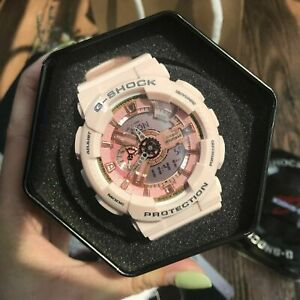 NEW G-Shock Women's Watch Gold Dial Pink Resin Quartz GMAS110MP-4A1