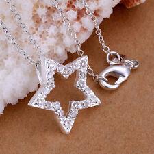 Damen Halskette mit Stern Anhänger Zirkonia 925 Sterling Silber plattiert