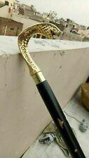 Vintage Cobra Snake Brass Handle Designer Canes Antique Wooden Walking Stick