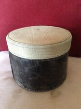 Gentlemen's Antique Brown Leather & Prince of Wales Check Storage or Collar Box