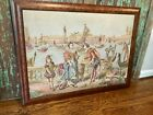Medium vintage Venetian tapestry, framed, Old World Renaissance textile