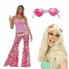 Hippy Trousers with Blonde Wig and Pink Glasses