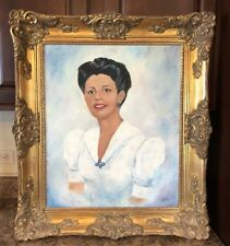 Vintage Ornate Framed Oil Painting Portrait Mid Century African American Woman