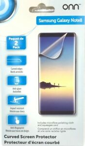 Onn Curved Screen Protectors For Samsung Galaxy Note8 Impact Resistant Pack of 2
