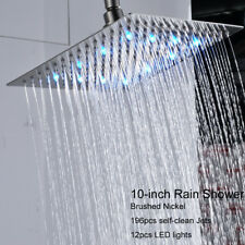 Square 10-inch Rain Shower Head LED Top Sprayer Brushed Nickel Ultrathin Heads