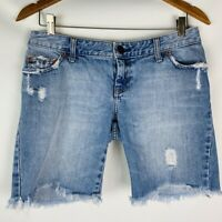 american eagle women's shorts size 4 light wash denim distressed