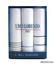 UMO LORENZO 3 PK Mens Multi Cotton Handkerchiefs NIB