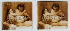 6x13 Antique Glass Photo Stereo 3D Stereoscopic Slide NUDE Mature Hand Derriere