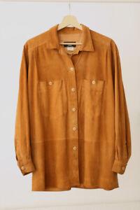 Begedor Italia Genuine Suede Leather Tan Brown Shirt Vintage 38 M L