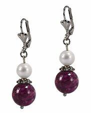 & Purple Howlite Stone Leaverbacks Dangle Beaded Fashion Earrings Silver Pearl