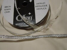 """RIBBON OFFRAY 2 Metallic SILVER wired 1/8""""x7y Craft,Bow,Gift,Wedding,favor"""