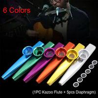 Children Kids Silver Aluminum Metal Harmonica Kazoo Flute 5 Pcs Diaphragm