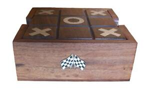 Chequered Flags Wooden Tic Tac Toe Solitaire Game FREE ENGRAVING 550