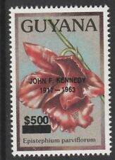 Guyana 6584 - 1991 ? Orchids opt'd JOHN F KENNEDY $500 on $100.00 unmounted mint