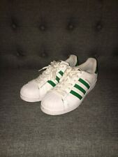 Adidas Superstar Originals Men's 9.5 Shell Toe Green and White Leather PREOWNED