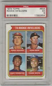 1974 Topps Rookie Card #604 Infielders Hughes Knox Thornton Frank White PSA 5