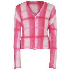 LUCIEN PELLAT-FINET soft cotton pink tie-dye plaid check cardigan sweater Small