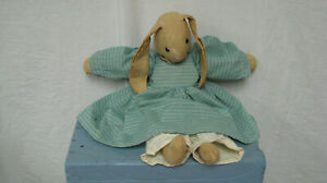 Handmade muslin Easter toy Bunny with pantaloons green dress