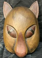 Vintage Hand Carved Cat Mask Feline Wood Ornate Wall Decor Tribe
