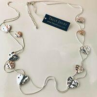 UK Ladies Designer Long Silver Rose Gold Heart Statement Necklace Jewellery