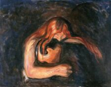 Edvard Munch 1895 Vampire Painting Poster Fine Art Re-Print A4