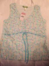 SIGRID OLSEN Aqua Floral Print Nylon Mesh Knit Tunic Top Shell New $69