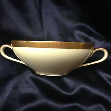 KPM KRISTER GERMANY 417 CREAM SOUP BOWL 10 OZ GOLD ETCHED LINES ON GOLD BAND