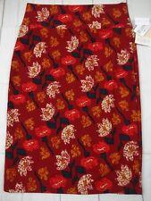 Lularoe Women's Cassie Dark Red Floral Skirt Size M NWT - A2686