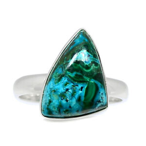 Malachite In Chrysocolla 925 Sterling Silver Ring Jewelry s.9 BR91333