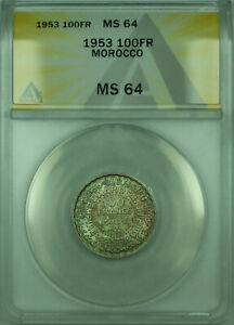 1953 100FR Morocco ANACS MS 64 Toned 100 Francs Silver Coin Y#52