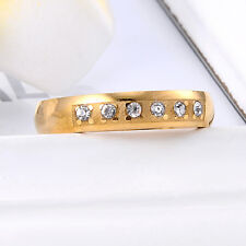 Women Clear Cubic Zirconia 18K Wedding Band Ring Size 6.5 For Engagement