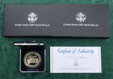 1991 S USO Proof Silver Dollar, United Service Organizations Coin with Box & COA