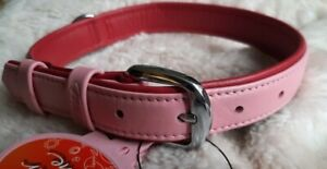 """Flexi Summertime Collar  Dogs PINK ON RED SOFT LEATHER LARGE 16-20"""" NECK"""