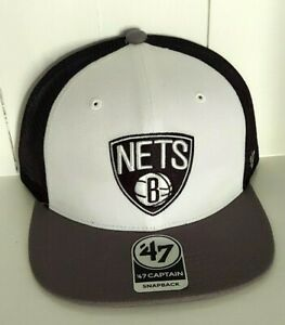 Brooklyn Nets Hat '47 Captain Snapback Cap Black Mesh Trucker Style New NBA