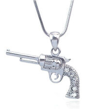 3D Western Movie Cowboy Cowgirl Revolver Pistol Gun Pendant Necklace Clear