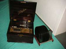 "Polyphon Chapa Discos 28cm juego lata reloj Antique 11"" Discs Christmas Music Box"