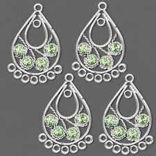 Swarovski Chandelier Peridot Green Crystal Antiqued Jewelry Lot of 4 Pieces