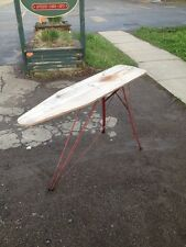 Vintage IRONING Board Wood Red Folding Metal Iron Primitive USA ? 1940s ?