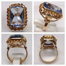 Schöner Blautopas Rotgoldring 585 er Gold Ring Goldschmuck Blautopasring