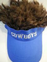 COWBOYS Hat With Hair Dallas NEW Visor Dreadlocks Rare Football NFL