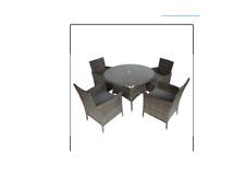More details for bentley 4 seater rattan dining set grey - customer returned, unwanted