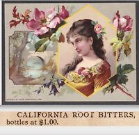 California Root Tea Bitters 1800's C.R. Burrage (San Francisco) Cure Trade Card