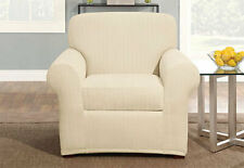 Sure Fit Stretch Pinstripe Chair Slipcover in Cream 2 pieces Box Cushion