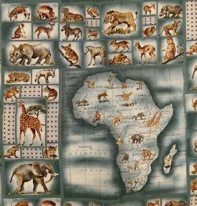"SERENGETI Africa Map Fabric Hoffman International Cotton BTY 44""w Elephant Rhino"
