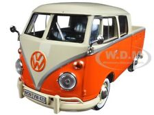 VOLKSWAGEN TYPE 2 (T1) DOUBLE CAB PICKUP TRUCK ORANGE/CREAM 1:24 MOTORMAX 79343