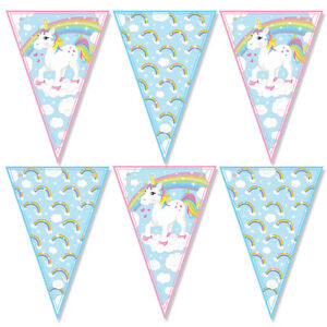 UNICORN and rainbows party / Bunting 12 Flags