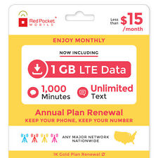 Red Pocket 1 Year Prepaid Wireless Plan (Gold) - No Contract, Renewal Only