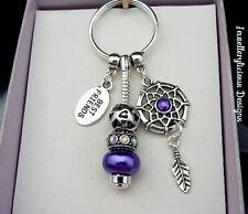 Beautiful Purple BEST FRIENDS Dream Catcher AB Crystal Keyring Key Ring
