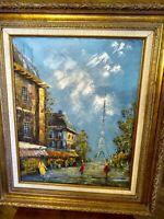 Vintage Paris Eiffel Tower Oil Painting